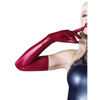 Coquette Elbow Length Red Matte Wet Look Gloves