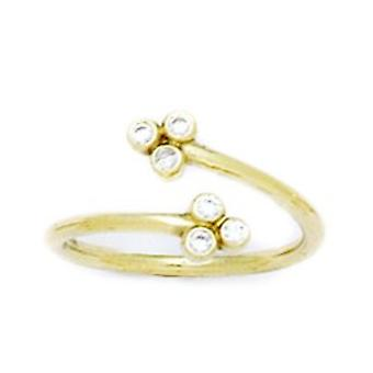 14k Yellow Gold CZ Cubic Zirconia Simulated Diamond Adjustable Flowers Body Jewelry Toe Ring Jewelry Gifts for Women
