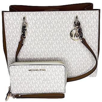 Michael kors sofia large chain tote vanilla mk signature + phone wristlet wallet