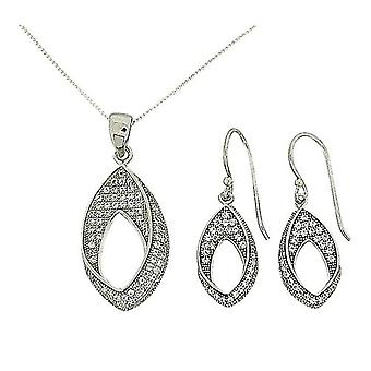 TOC Sterling Silver CZ Pave Open Leaf Earrings & Pendant Necklace 18
