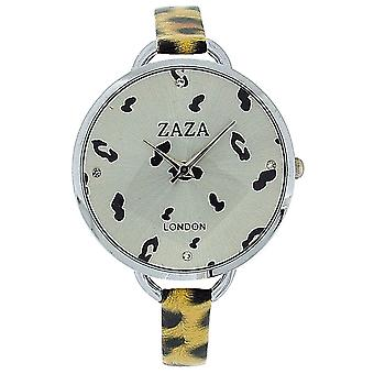 Zaza London Black & Goldtone Leopard Design Silver Dial Ladies Fashion Watch LLB872