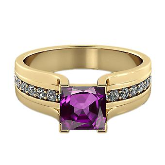 14K gult guld 1.20 ctv ametist Ring med diamanter Bridge kanal inställd Princess