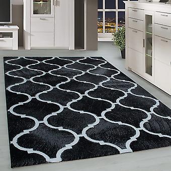 ShortFlower Rug Modern Orient Design Living Room Tapis Noir Pattern Blanc