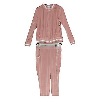 K Jordan Women's Velvet Zip Front Jacket & Jogger Pants 2 Piece Set Pink