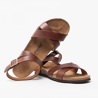 Papillio By Birkenstock Lola 1009237 (nar) Ladies Leather Ankle Strap Sandals Cognac