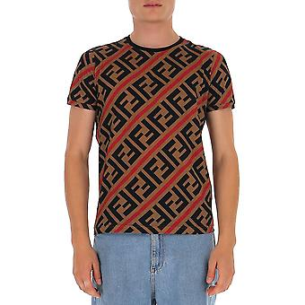 Fendi Fy0894a7a8f13j8 Män's Multicolor Cotton T-shirt
