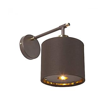 Balance Wall Lamp, Polished Brass, With Brown Lampshade