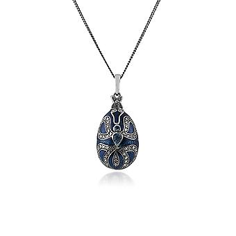 Art Nouveau Style Pear Blue Topaz Faberge Egg Style Pendant Necklace in 925 Sterling Silver 27397
