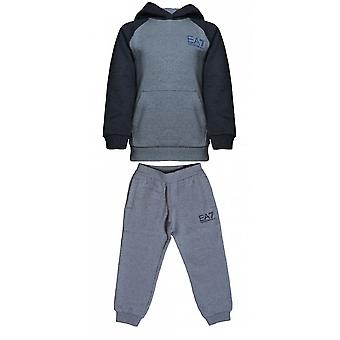 EA7 Boys EA7 Boy's Grey Hooded Tracksuit