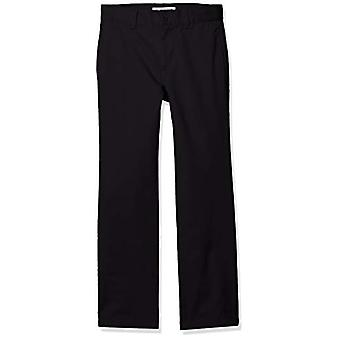 Essentials Boy's Straight Leg Flat Front Uniform Chino Pant, Black, 7(S)