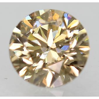 Cert 0.71 Carat Fancy Brown VVS1 Round Brilliant Natural Diamond 5.64mm EX CUT