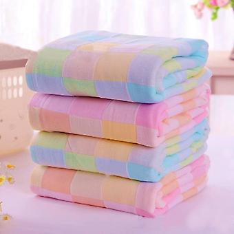 Square Design, Cotton Gauze, Plaid Towel For Daily Use