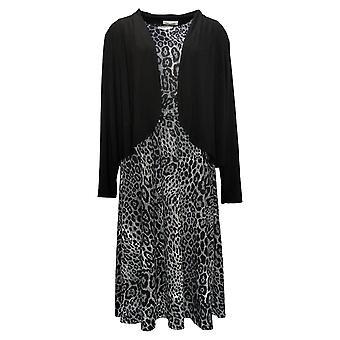 Serengeti Dress Printed Sleeveless Liquid Knit w/ Jacket Black