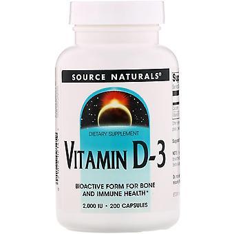 Fuente Naturales, Vitamina D-3, 2.000 UI, 200 Cápsulas