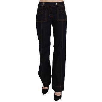 Just Cavalli Black Cotton Mid Waist Straight Denim Pants
