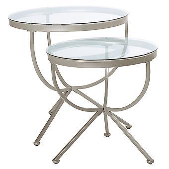 SATIN SILVER 2PCS NESTING TABLE SET