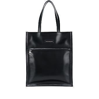 Alexander Mcqueen 6255081xi0y1000 Men's Black Leather Aktetas