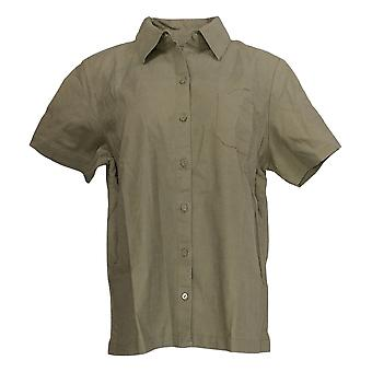Denim & Co. Women's Short-Sleeve Camp Shirt w/Chest Pockets Green A353999