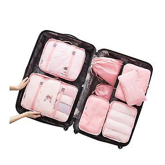 8PCS Cubes Travel Storage Luggage Organizer Watermelon Red