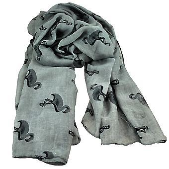Ties Planet Flamingo Animal - Bird Print Silver Grey Lightweight Women's Shawl Scarf