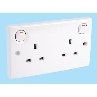 Schneider Electric E25WE 13A 2 Gang Switched Mains Socket