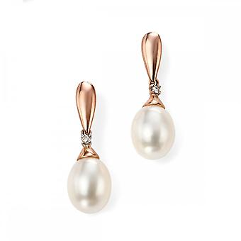 Elements Gold Elements 9ct Rose Gold Diamond & Freshwater Pearl Earring GE996W