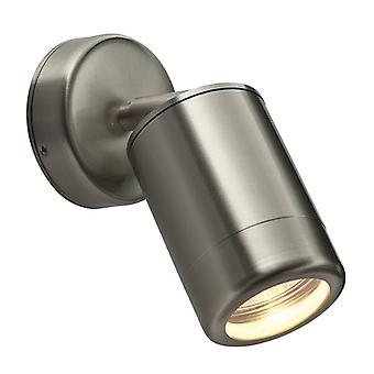 Saxby Lighting Odyssey - Outdoor Spot Wall Lamp IP65 7W geborsteld roestvrij staal en helder glas - GU10