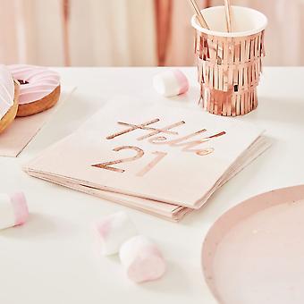 Hello 21 Rose Gold Paper Party Servetten - 21e Verjaardag Servetten x 16