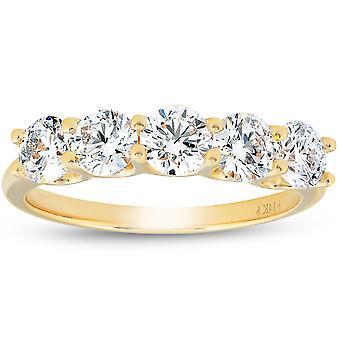 1 1/4 Ct Diamond Five Stone Wedding Ring 10k Yellow Gold U Prong