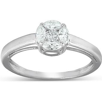 1/2 Ct Round مؤطرة ماركيز الماس سوليتير خاتم الخطوبة 14k الذهب الأبيض