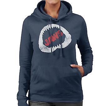 Jaws Bite Röd Text Kvinnor's Hooded Sweatshirt