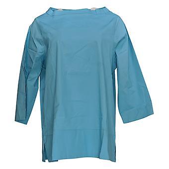 Martha Stewart Women's Top Stretch Poplin Funnel Neck Blouse Blue A353799