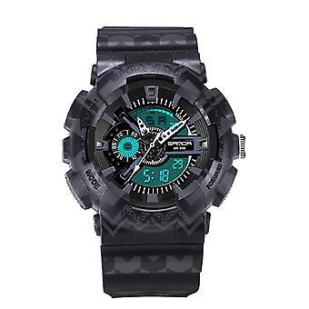 SANDA 999 Digital Watch Male Sport Waterproof Stopwatch Outdoor Dual Display