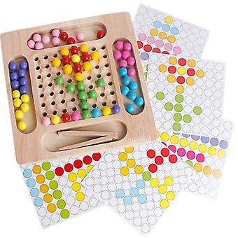 Children's Wooden Jigsaw Puzzle, Bead, Elimination, Two-in-one Toy, Concentration Training Educational Toy