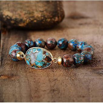 Bronzite Stone Beads Women Stretchy, Yoga Mala Elastic Charm Bracelets Jewelry