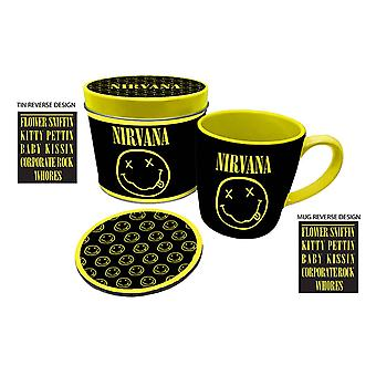 Nirvana Mug and Coaster Gift Tin Set Smiley Band Logo nevermind new Official