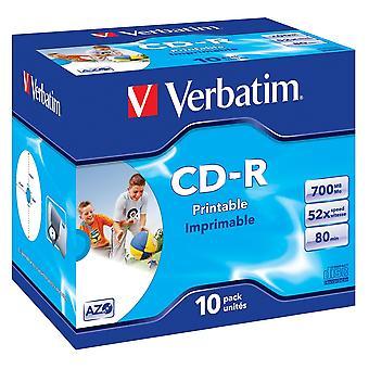 Verbatim 43325 azo 52x cd-r imprimible - joya con caja 10 pack