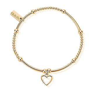 ChloBo GBCM006 Women's Gold Tone Söt Mini Open Heart Armband