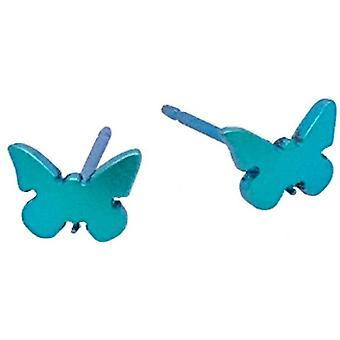 Ti2 Titanium Butterfly Shape 7mm Stud Earrings - Black