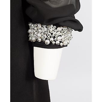 שמלת שיפון ישרה עם מחשוף גזור וחפתים פנינה