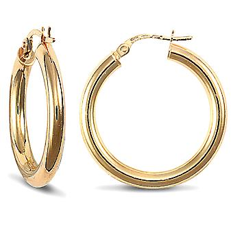 Jewelco London Ladies 9ct Yellow Gold Polished 3mm Hoop Boucles d'oreilles 25mm