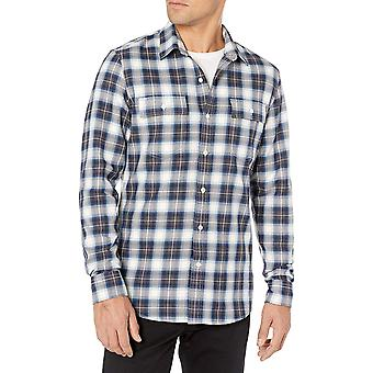 Goodthreads Men's Slim-Fit Long-Sleeve Plaid Herringbone Shirt, Navy Eclipse,...