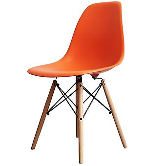 Charles Eames Style Orange Plastic Retro Side Chair - Natural Wood Legs