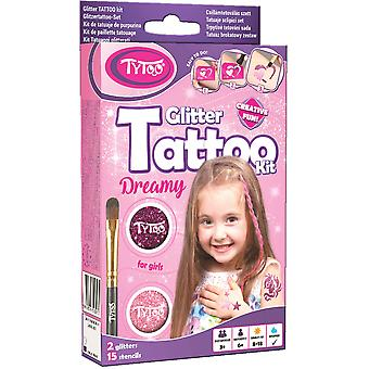 Glitter tattoo kit for girls with 15 amazing stencils - hypoallergenic and cruelty free - 8-18 lasti