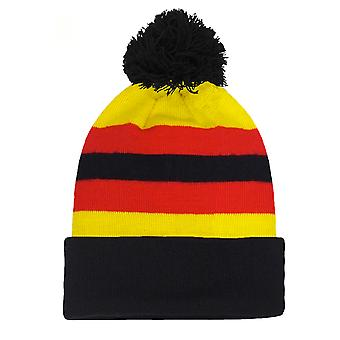 fan originals Retro Football Bobble Hat in Watford Colours Yellow Red Black