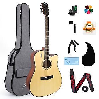 Acoustic Guitar Spruce Full Size Student & Beginner Gig Bag Tuner Strap Picks