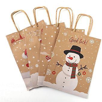 Kraft Paper Bags, Snowman, Christmas Bag With Handle, Cookie Packaging, Wedding