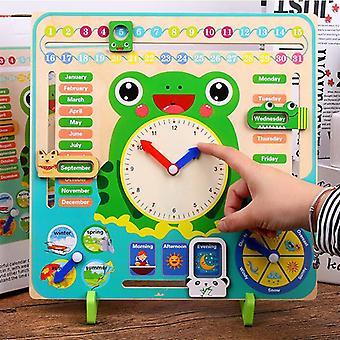 Wooden Calendar Weather Season Clock Early Learning Toy Lock Calendar Weather