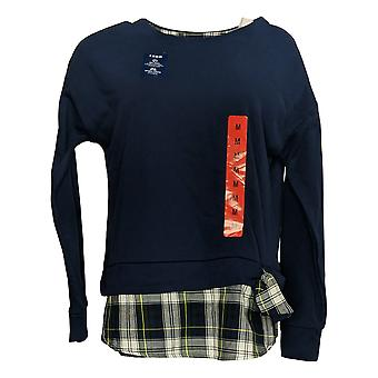 Izod Women's Tie-Front 2-Fer Sweatshirt w/Plaid Trim Navy Blue
