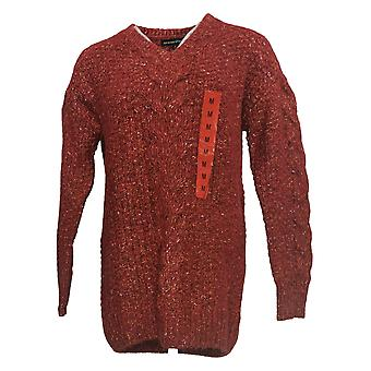 Adrienne Vittadini Women's Sweater Cable Knit V Neck Red